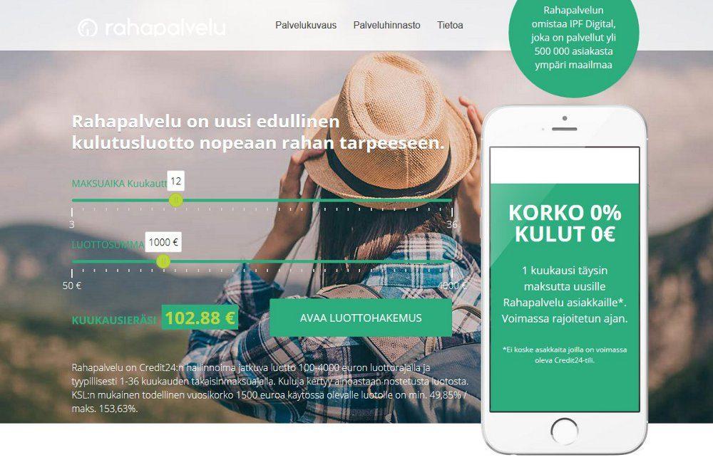 Rahapalvelu verkkosivusto